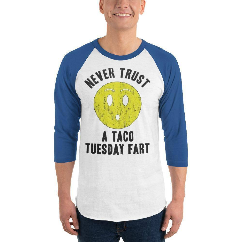 Never Trust Taco Tuesday 3/4 sleeve raglan shirt  -  White/Royal / XS  -  Shirt  - SNS Outlet