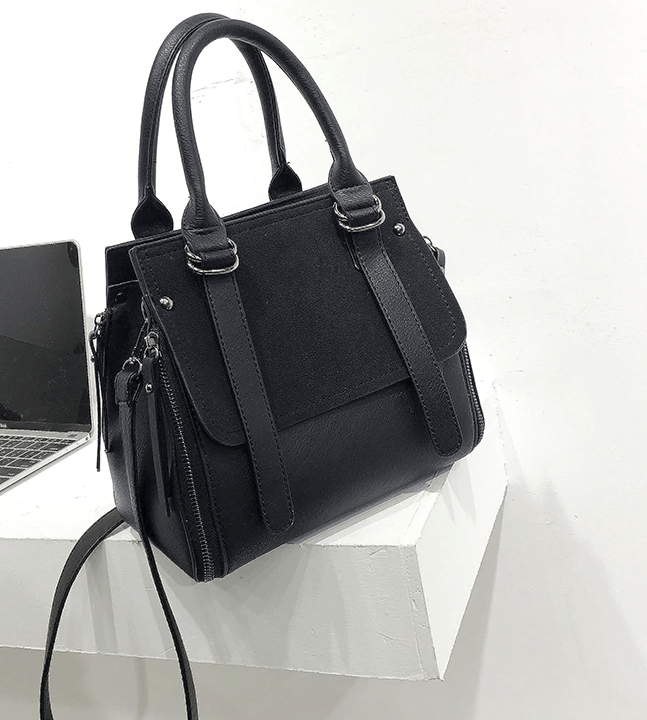 Northwest Panel Vegan Leather Matte Shoulder Bag  -  Black  -  Shoulder Bags  - SNS Outlet