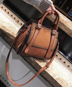 Northwest Panel Vegan Leather Matte Shoulder Bag  -  Brown  -  Shoulder Bags  - SNS Outlet
