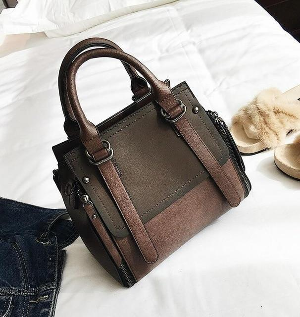 Northwest Panel Vegan Leather Matte Shoulder Bag  -  Chocolate  -  Shoulder Bags  - SNS Outlet
