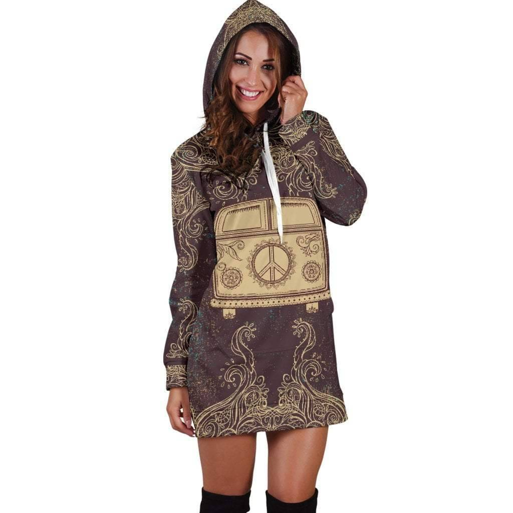 Peace Bus Hoodie Dress  -  Women's Hoodie Dress / XS  -  Hoodie Dress  - SNS Outlet