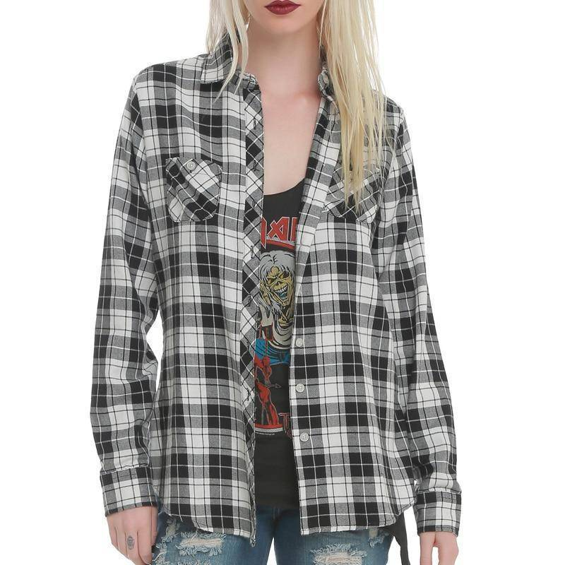 Plaid Hollow Out Skull Shirt (S-4XL)  -  White / S  -  Blouses & Shirts  - SNS Outlet