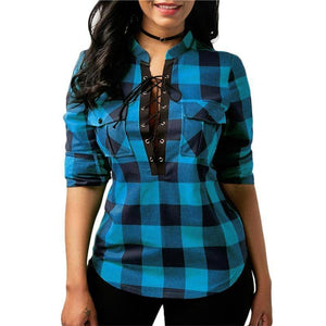 Plaid Long Sleeve Lace Up Top (PLUS SIZE UP TO 5X)  -  Blue / S  -  womens plaid flannel shirts  - SNS Outlet
