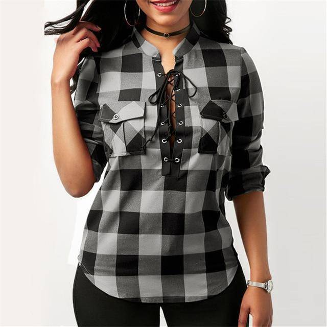 Plaid Long Sleeve Lace Up Top (PLUS SIZE UP TO 5X)  -  Gray / S  -  womens plaid flannel shirts  - SNS Outlet