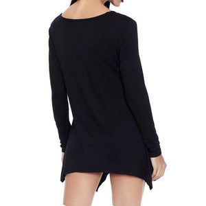 [PLUS SIZE] Skull Long Sleeve Casual Women's Dress/Top  -  Black / S  -  T-Shirts  - SNS Outlet
