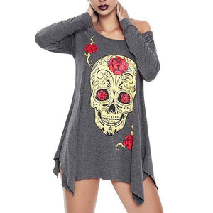 [PLUS SIZE] Skull Long Sleeve Casual Women's Dress/Top  -  Gray / S  -  T-Shirts  - SNS Outlet