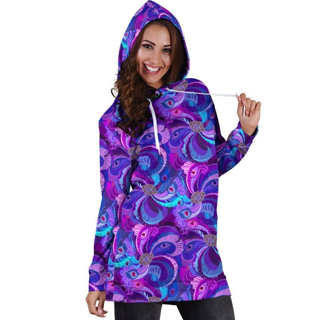 Purple Peacock Women's Hoodie Dress  -  Women's Hoodie Dress / XS  -  Hoodie Dress  - SNS Outlet