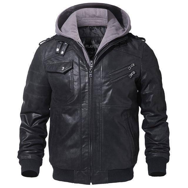 Ride Clean Genuine Premium Leather Jacket By Flavor  -  BlackGray / XS  -  Jacket  - SNS Outlet