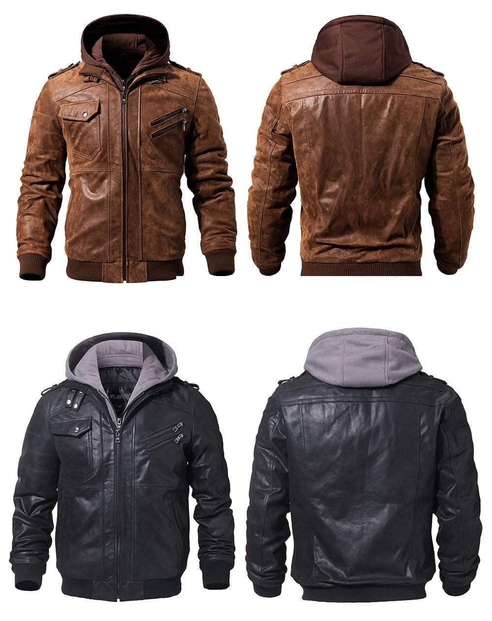 Ride Clean Genuine Premium Leather Jacket By Flavor  -  Brown / XS  -  Jacket  - SNS Outlet
