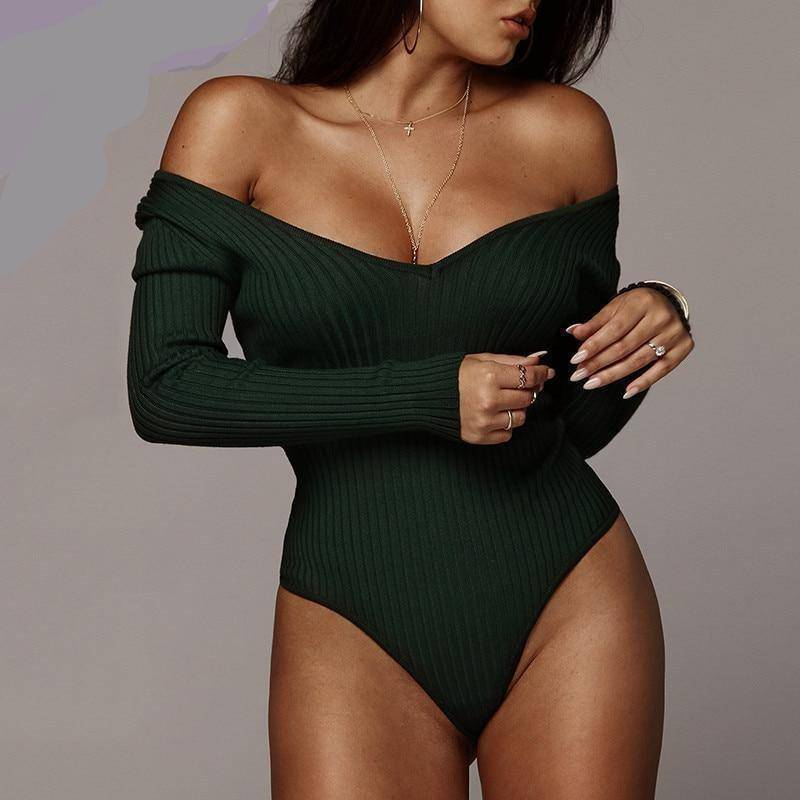 Room Service Off Shoulder Bodysuit  -  Green / S  -  Bodysuits  - SNS Outlet