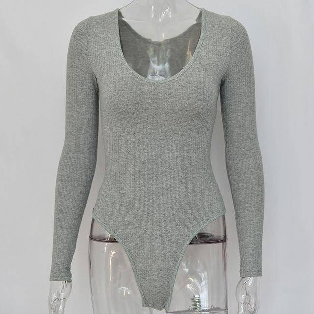 Room Service Off Shoulder Bodysuit  -  Grey / S  -  Bodysuits  - SNS Outlet