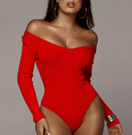 Room Service Off Shoulder Bodysuit  -  Red / S  -  Bodysuits  - SNS Outlet