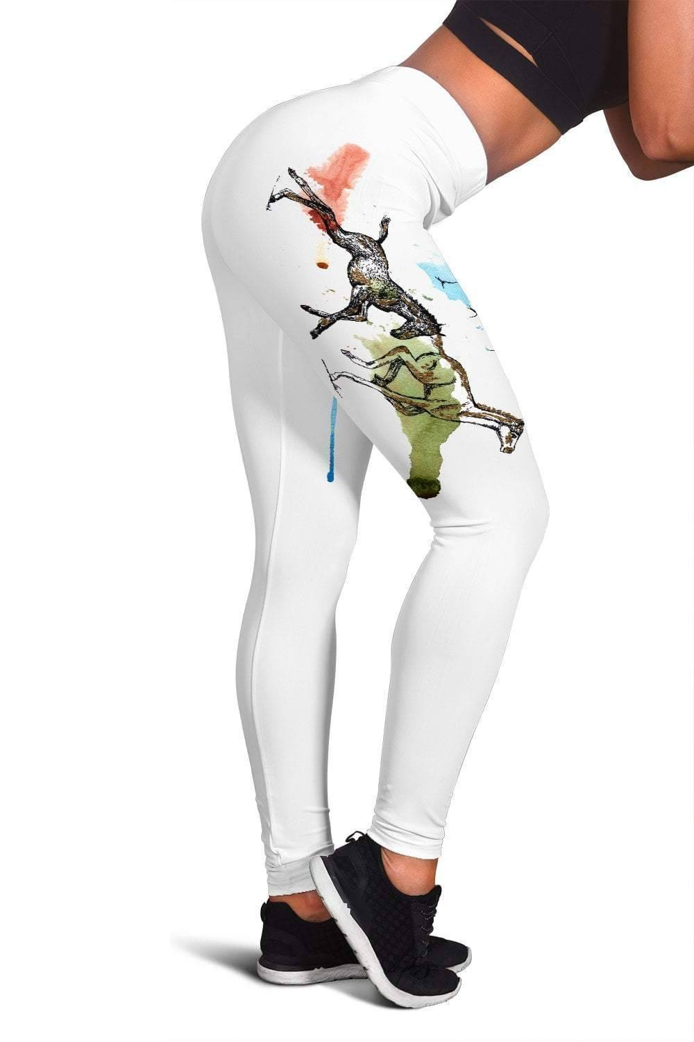 Running Horse Leggings (White)  -  Women's Leggings / XS  -  Leggings  - SNS Outlet