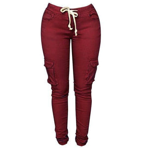 Skinny Lace Up Casual Cargo Pencil Pants (S-4XL)  -  Burgundy / S  -  Pants & Capris  - SNS Outlet