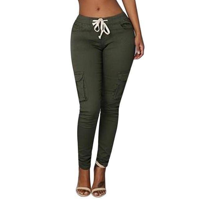 Skinny Lace Up Casual Cargo Pencil Pants (S-4XL)  -  Green / S  -  Pants & Capris  - SNS Outlet