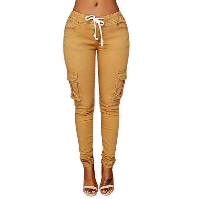 Skinny Lace Up Casual Cargo Pencil Pants (S-4XL)  -  Khaki / S  -  Pants & Capris  - SNS Outlet
