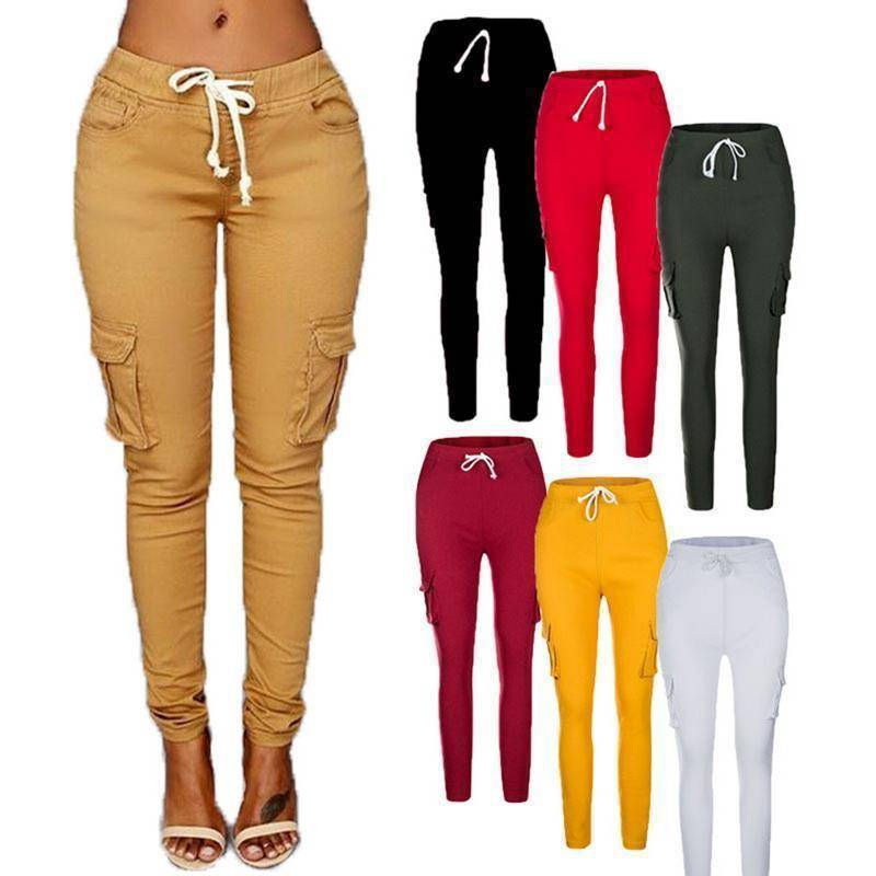 Skinny Lace Up Casual Cargo Pencil Pants (S-4XL)  -  Red / S  -  Pants & Capris  - SNS Outlet