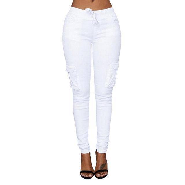 Skinny Lace Up Casual Cargo Pencil Pants (S-4XL)  -  White / S  -  Pants & Capris  - SNS Outlet
