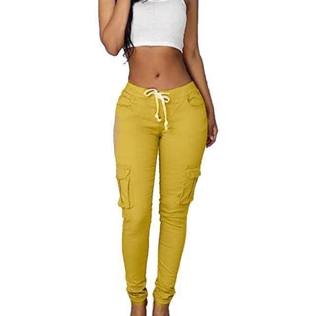 Skinny Lace Up Casual Cargo Pencil Pants (S-4XL)  -  Yellow / S  -  Pants & Capris  - SNS Outlet