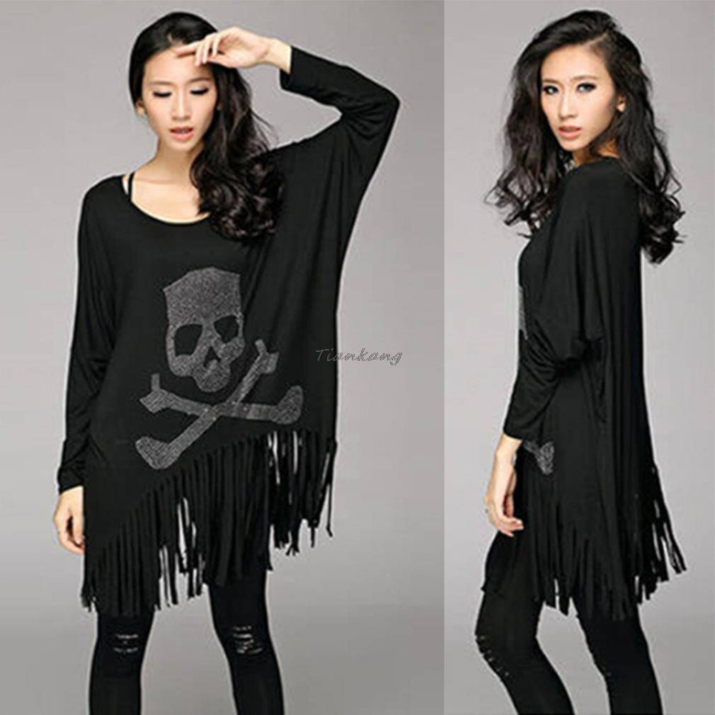Skull and Crossbones Long Sleeve Fringed Shirt  -  Black / One Size  -  T-Shirts  - SNS Outlet