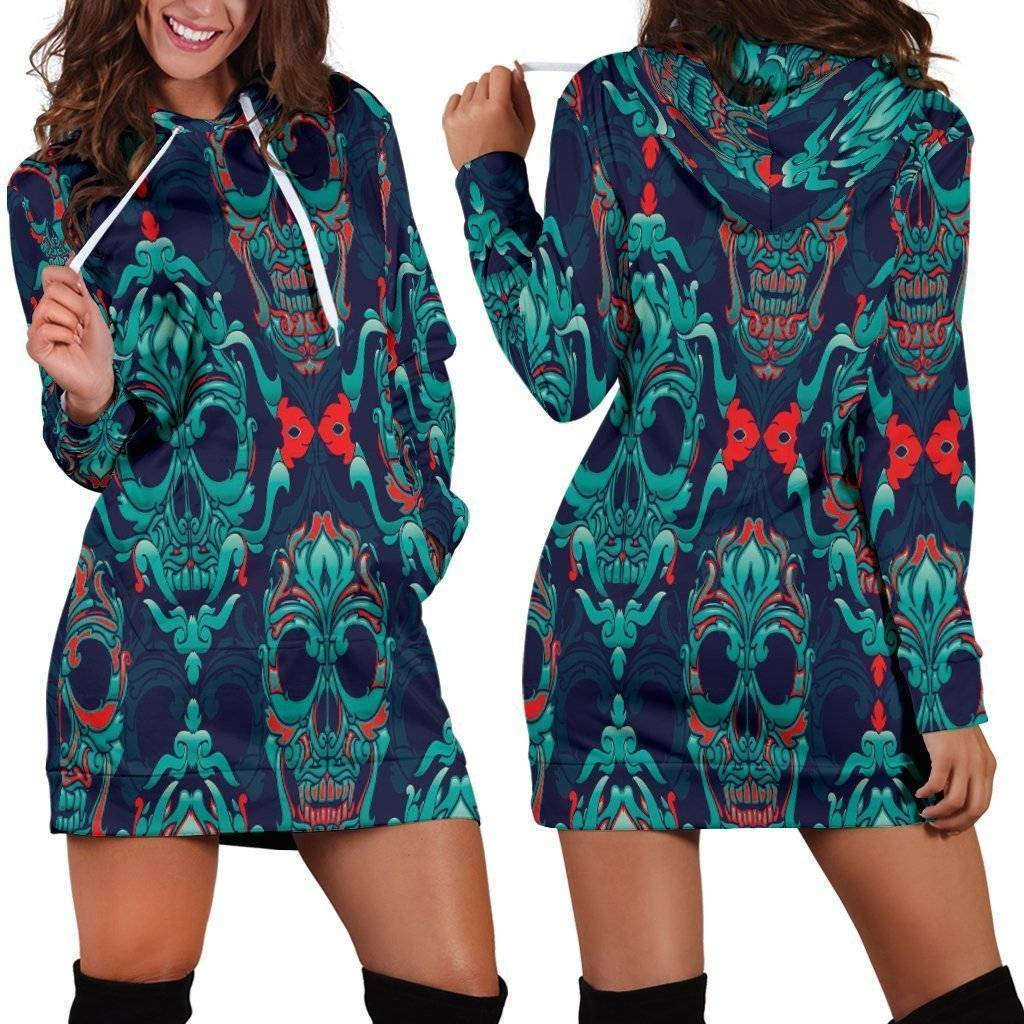 Skull Hoodies Dress  -  XS  -  Hoodie Dress  - SNS Outlet