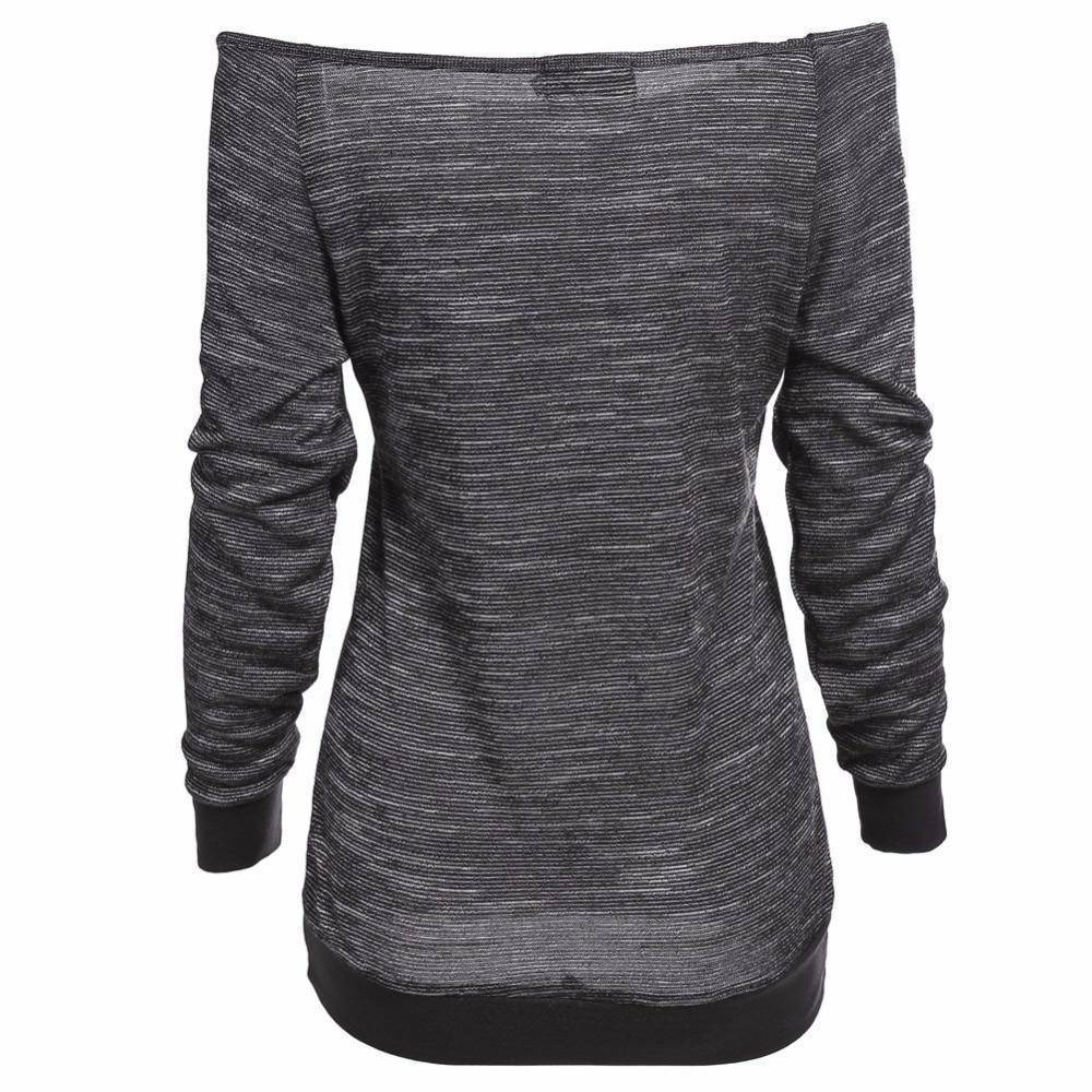 Skull Off The Shoulder Pullover Women's Sweatshirt  -  Gray / S  -  Hoodies & Sweatshirts  - SNS Outlet