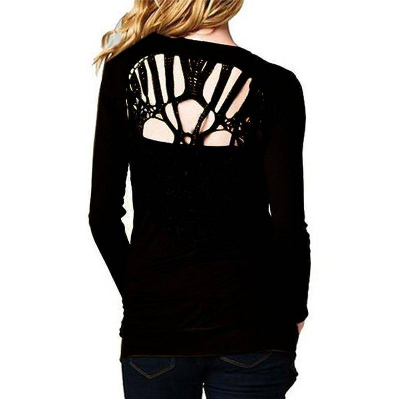 Skull Open Back Womens Long Sleeve Shirt/Cardigan  -  S  -  Cardigans  - SNS Outlet