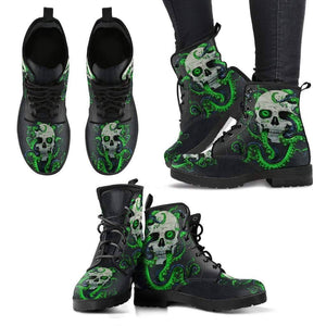 Skull With Octopus Tentacles Women's Handcrafted Premium Boots V3  -  Women's Leather Boots / US5 (EU35)  -  Hidden  - SNS Outlet