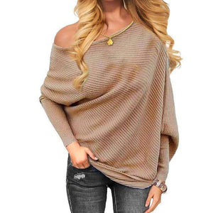 SNS Off One Shoulder Tops (PLUS SIZE UP TO XXL)  -  Khaki / S  -  Off The Shoulder Tops  - SNS Outlet