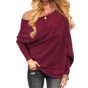 SNS Off One Shoulder Tops (PLUS SIZE UP TO XXL)  -  Wine Red / S  -  Off The Shoulder Tops  - SNS Outlet