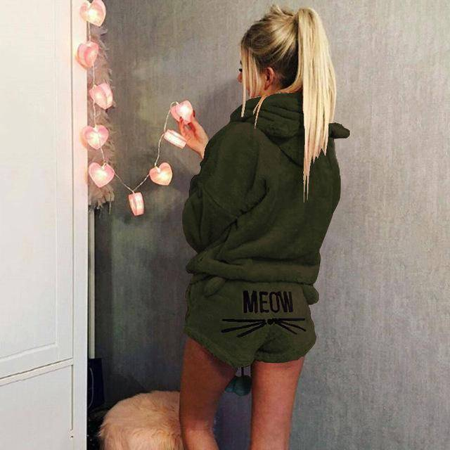 Soft kitty - Velvet Two Piece Pajamas (PLUS SIZE UP TO 5X)  -  Army Green / S  -  Pajamas  - SNS Outlet