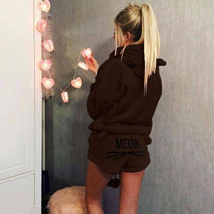 Soft kitty - Velvet Two Piece Pajamas (PLUS SIZE UP TO 5X)  -  Brown / S  -  Pajamas  - SNS Outlet