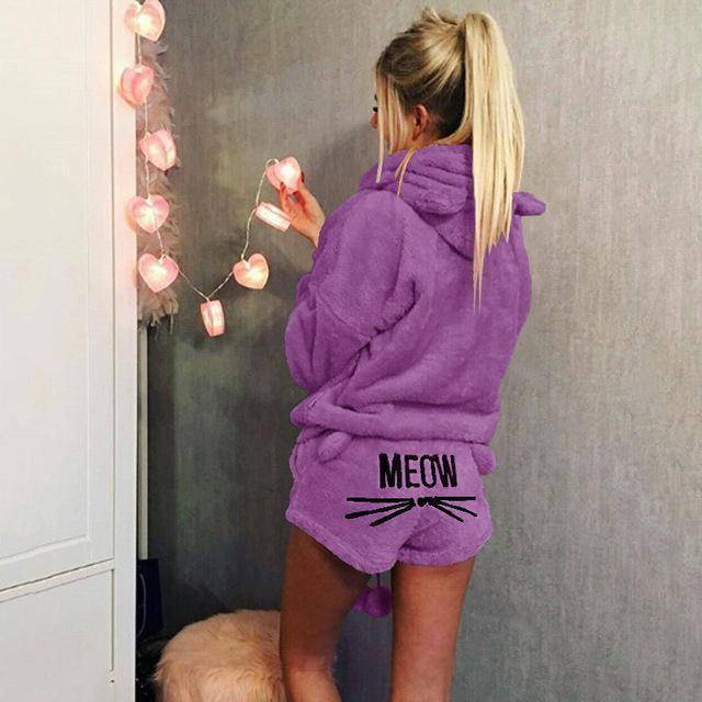 Soft kitty - Velvet Two Piece Pajamas (PLUS SIZE UP TO 5X)  -  Purple / S  -  Pajamas  - SNS Outlet