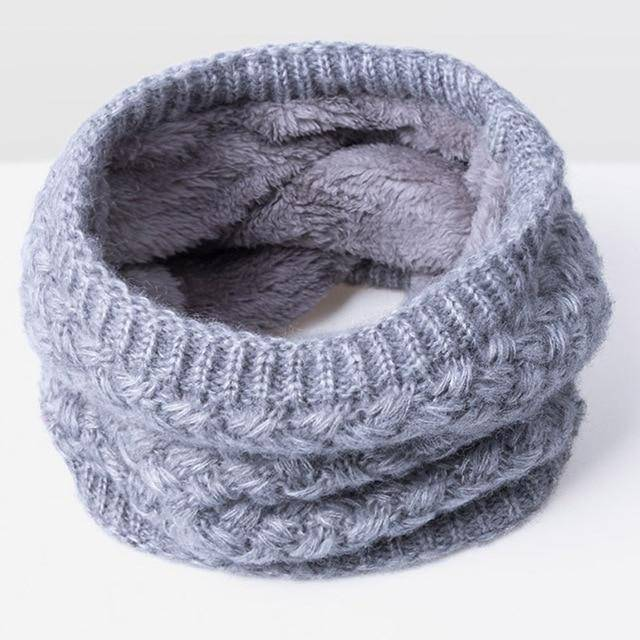 SOLID Winter Collar Scarf  -  gray  -  Scarf  - SNS Outlet