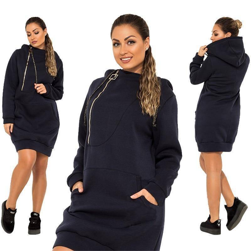 Stretchy Casual Hoodie Dress (PLUS SIZE UP TO 6X)  -  Blue / XL  -  Hoodie Dress  - SNS Outlet
