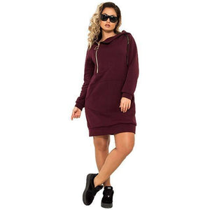 Stretchy Casual Hoodie Dress (PLUS SIZE UP TO 6X)  -  Burgundy / XL  -  Hoodie Dress  - SNS Outlet