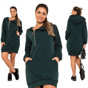 Stretchy Casual Hoodie Dress (PLUS SIZE UP TO 6X)  -  Green / XL  -  Hoodie Dress  - SNS Outlet