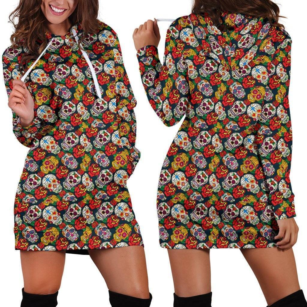 Sugar Skull Rose Hoodie Dress  -  Hoodie Dress - Sugar Skull Rose Hoodie Dress / XS  -  Hoodie Dress  - SNS Outlet