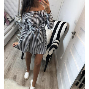 SunCoast Club Women's Bow Tie Off Shoulder Striped Summer Dress  -  Black / S  -  Dresses  - SNS Outlet