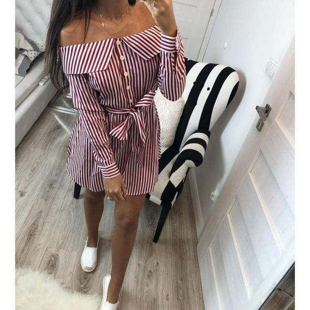 SunCoast Club Women's Bow Tie Off Shoulder Striped Summer Dress  -  Pink / S  -  Dresses  - SNS Outlet