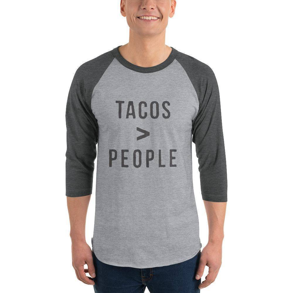Tacos > People 3/4 sleeve raglan shirt  -  Heather Grey/Heather Charcoal / S  -  Shirt  - SNS Outlet