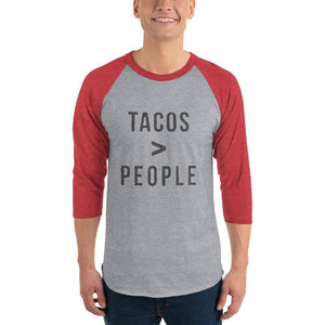 Tacos > People 3/4 sleeve raglan shirt  -  Heather Grey/Heather Red / XS  -  Shirt  - SNS Outlet