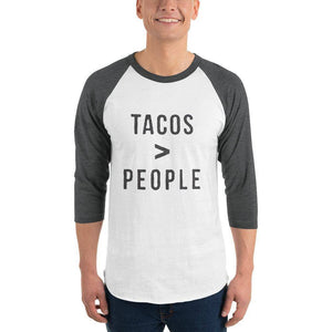 Tacos > People 3/4 sleeve raglan shirt  -  White/Heather Charcoal / XS  -  Shirt  - SNS Outlet