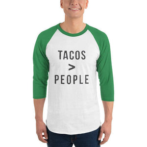 Tacos > People 3/4 sleeve raglan shirt  -  White/Kelly / XS  -  Shirt  - SNS Outlet