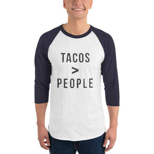 Tacos > People 3/4 sleeve raglan shirt  -  White/Navy / XS  -  Shirt  - SNS Outlet