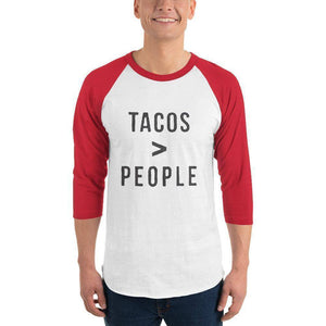 Tacos > People 3/4 sleeve raglan shirt  -  White/Red / XS  -  Shirt  - SNS Outlet