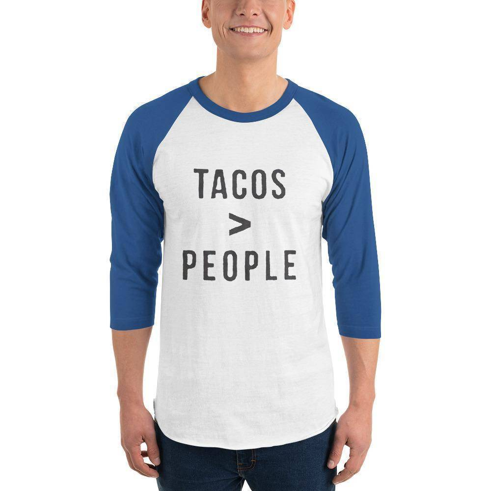 Tacos > People 3/4 sleeve raglan shirt  -  White/Royal / XS  -  Shirt  - SNS Outlet