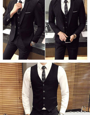 The Businessman by Valvano Men's 3 Piece Suit  -  3 pieces sets black / S  -  Suits  - SNS Outlet