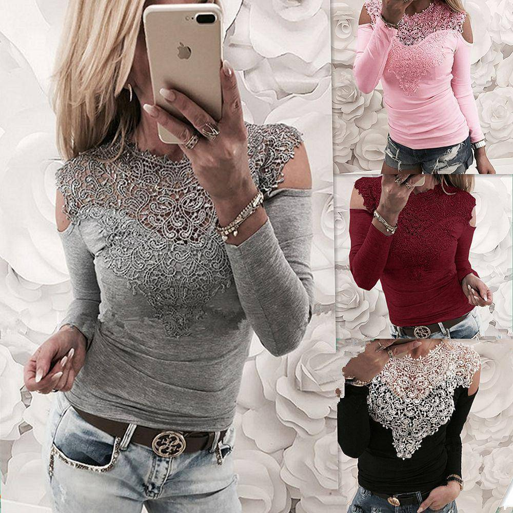 The Cold Shoulder Long Sleeve Lace Top  -  Gray / S  -  Blouses & Shirts  - SNS Outlet