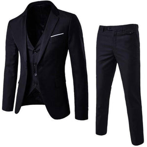 The Groomsman by Markee 3 Piece Mens Business Suit  -  Black White / L  -  Suits  - SNS Outlet